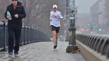 Kevin Sweeney, training for the Boston Marathon on his lunch break, has been turned down for a charity bib by Mass. General but is on the wait list at Mass. Eye and Ear.
